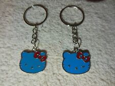 """Hello Kitty """""""" Blue / silver tone """""""" Keychain Ring** Lot-of-2** Free Shipping"""