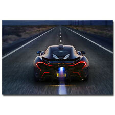 "New Mclaren P1 Super Car Art Silk Posters 24x36"" Running On The Road Luxury Car"