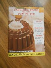 Old Vintage Knox Unflavored Gelatine Fabulous Foods that are fun to fix Recipes