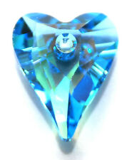 SWAROVSKI WILD HEART PENDANT 6240, CUSTOM COATED GLACIAL AQUA BLUE, 17 MM