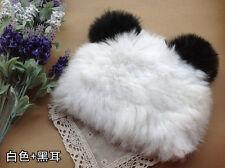 100% Real Rabbit Fur Panda Ears Knit Hat Top Nice Beret Skullies Ski Cap White