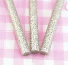 10 x SILVER GLITTER Deco Sauce Decoden 7mm Hot Melt Glue Gun Sticks 10cm UK SELL