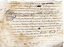 REGION AUVERGNE / DOCUMENT MANUSCRIT 1763 Vieux Français Cachet