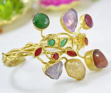 Ottoman Gems semi precious stone gold bracelet cuff bangle Amethyst Jade Crystal