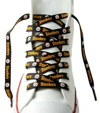"Pittsburgh Steelers Team Logo Colors BLACK 54"" Shoe Laces One Pair Lace Ups NFL"