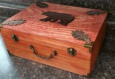 Black Bear Wooden Keepsake Box, Custom Wood,Trinket box, Memory Box, Jewelry Box