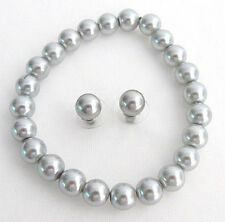 Wedding gray pearl bracelet, Silver gray bracelet, bridesmaid bracelet gift item