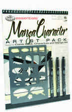 ART SET A4 Spiral Bound Manga character drawing pad Stencil 3 marker pens RD514