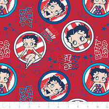 Red White & Betty Boop Badge Patriotic Camelot 100% Cotton Fabric by the yard