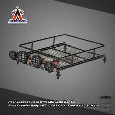 Austar Roof Luggage Rack w/ LED Light Bar for 4WD CR01 AXIAL SCX10 Black V7G3