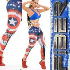 NEW!! FIBER CAPITAN AMERICA Athletic  spandex Pant Leggings Gym New yoga