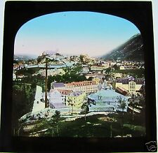 COLOUR Glass Magic lantern slide LOURDES PANORAMA C1900 FRANCE