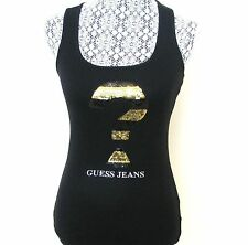 NEW GUESS SEQUIN QUESTION MARK LOGO ZIVA BABY RIB TANK TOP,SLEEVELESS SHIRT