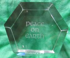 Baccarat Glass/Crystal Paper Weight With Words:  Peace On Earth Made in France