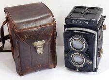 Vintage ROLLEIFLEX Compur TLR Camera with Leather Case. Carl Zeiss Lens. Rollei