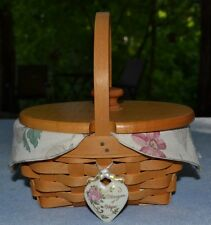 Longaberger 1999 Horizon of Hope Covered Basket W Cloth and Plastic Liners