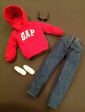 Barbie Doll & Friends GAP Red Sweat Shirt Top Jeans Shoes Sunglasses NEW