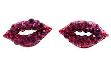 Sexy red lip lips stud earrings with crystal