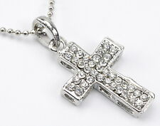 "Necklace Small Silver Cross Rhinestones Adjustable 16-18"" Women Jewelry NWT 02"
