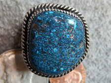 Mens New Black Spiderweb Turquoise Sterling Ring Navajo Russel Sam Size 13 1/8