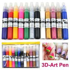12Pcs 3D Color Nail Art Decoration Fine Tip Pen Shape DIY Drawing Paint US