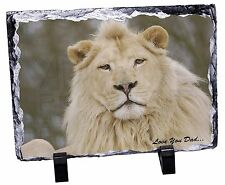 White Lion 'Love You Dad' Photo Slate Christmas Gift Ornament, DAD-149SL