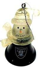 3 Oakland Raiders Set Of Three Snowman Metal Bell Ornament Features