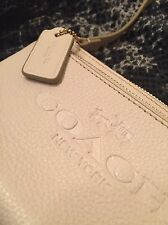 COACH PEBBLE LEATHER DOUBLE CORNER ZIP WRISTLET WALLET WINTER WHITE NWOT $89