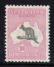 Australia 1932 Kangaroo 10/- Dark Grey & Analine Pink C of A Watermark MH