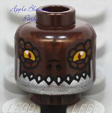 NEW Lego DARK BROWN MINIFIG HEAD Chima Crug w/Yellow Eye Monster Croc Fang Teeth