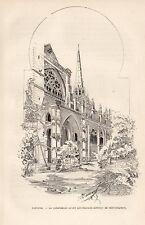 64 BAYONNE CATHEDRALE AVANT TRAVAUX DE RESTAURATION GRAVURE 1887 ENGRAVING