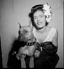 "Billie Holiday and Mister, 1947 Photo, JAZZ Singer vocalist & Pitbull, 16""x16"""