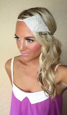 Ivory Pearl Vintage Diamond Shape Organza Hair Head Band Piece 1920's Flapper