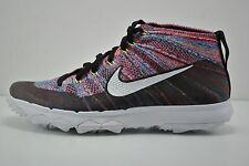 Mens Nike Flyknit Chukka Golf Shoes Size 7.5 Black White Blue Red 819009 002