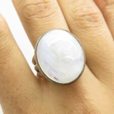 Vtg 925 Sterling Silver Large Cabochon Cut Moonstone Gem Women's Ring Size 8 1/4