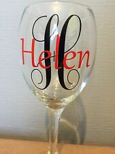 Name Vinyl Wording For Wine Glasses, Glitter Glass