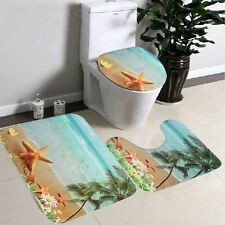 3 Pcs Sea Beach Design Bathroom Carpet Pedestal Lid Mat Toilet Rug Set