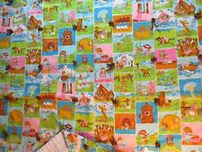 "VINTAGE JOAN WALSH ANGLUND CHILDREN FABRIC BED TROW SPREAD 41"" x 64"" HOME MADE"