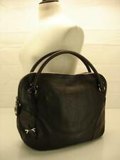 Salvatore Ferragamo Large Gancio Tote Bag Black Pebble Leather Zip Top Briefcase