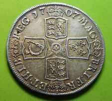 1707 E, Sexto Queen Anne Silver Crown, Edinburgh Mint.