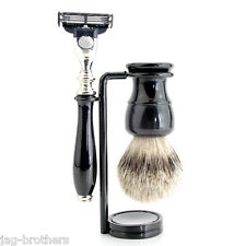 CLASSIC STYLE SILVER TIP BADGER HAIR BRUSH MACH 3 WITH BLACK HANDLE +  STAND