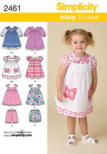 SEWING PATTERN SIMPLICITY TODDLERS' DRESS PINAFORE  SHORTS SIZES 1-4 YRS 2461