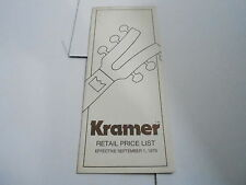 VINTAGE  MUSICAL INSTRUMENT CATALOG PRICE LIST - KRAMER GUITAR - SEPT 1 1979
