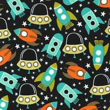 Michael Miller Retro Space Station Fabric,rockets,space ships.By the Fat Quarter