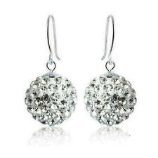 Solid 925 Sterling Silver Wedding Bridal Swarovski Crystal Ball Earring IE33