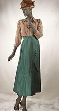 Edwardian Shantung Silk Skirt With Large Button and Pleated Trim Sz 8 No 1080