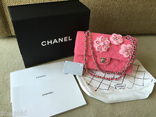 NEW CHANEL 2016 CRUISE PINK TWEED CAMELLIA APPLIQUE MEDIUM DOUBLE FLAP BAG