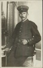 German? Soldier or Officer Posing in Uniform c1915 Real Photo Postcard WWI