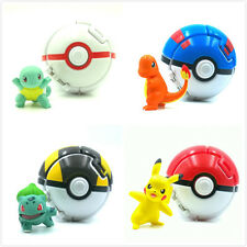 "4PCS Pokeball with Pokemon figure toys 2"" pikachu Bulbasaur Charmande Squirtle"