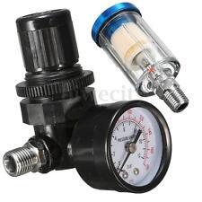 Spray Gun Air Regulator Pressure Gauge + 1/4'' Mini Inline Air Filter Separator